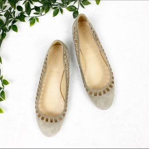 J Crew | Taupe Suede Perforated Round Toe Flats